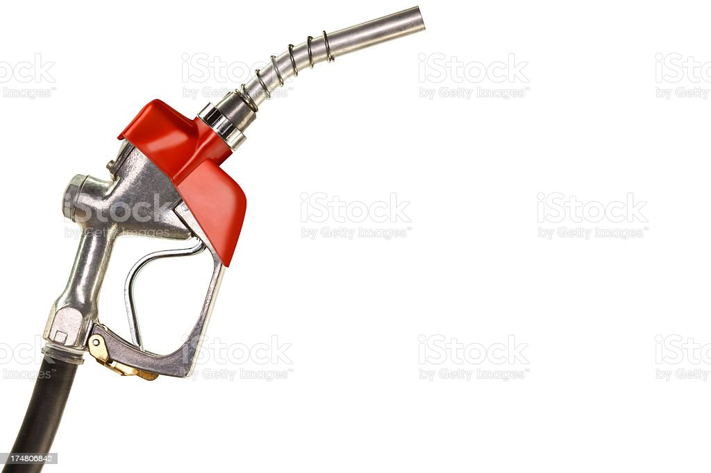Red Gasoline Pump Nozzle on White Background stock photo