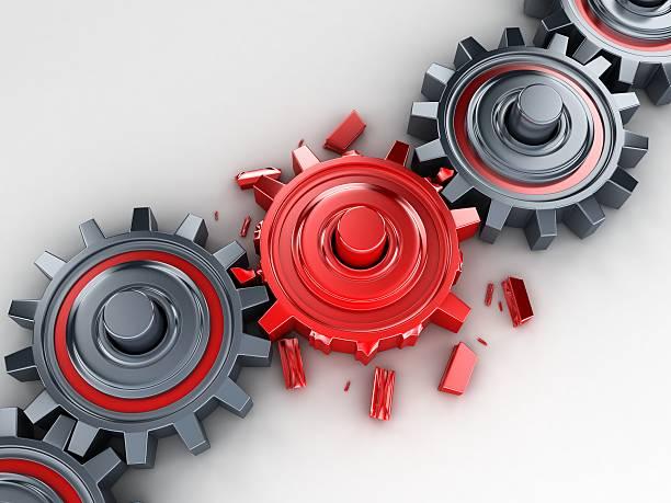 rosso ingranaggio - anello catena foto e immagini stock