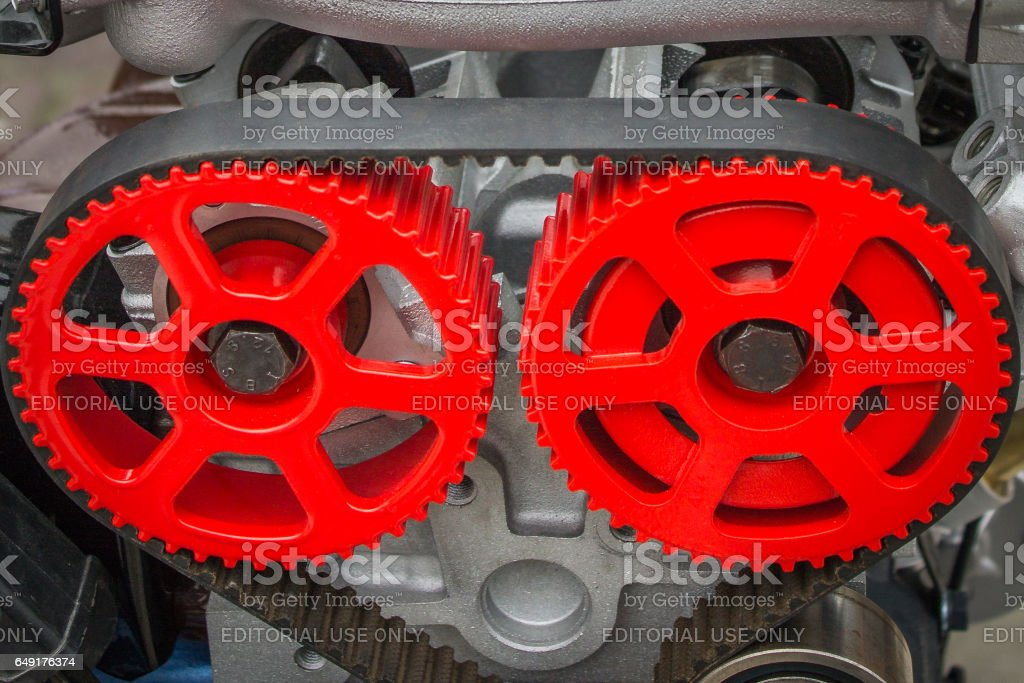 Red gears Fiat engine stock photo