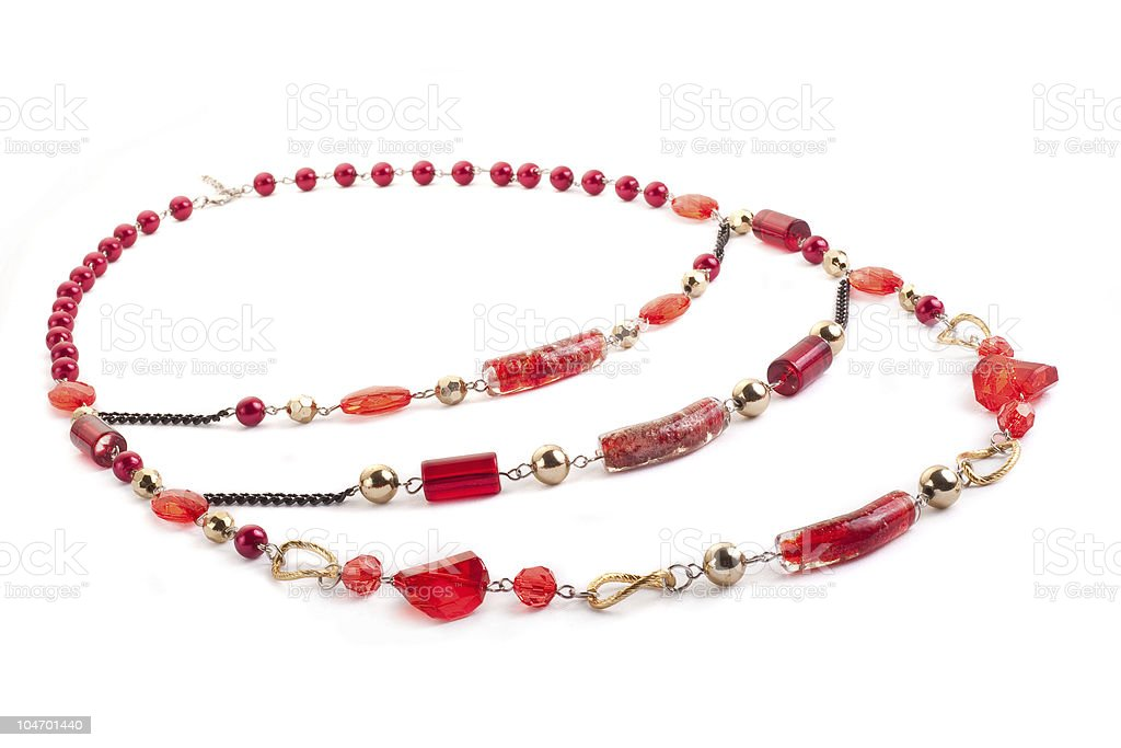 Red gem necklace closeup royalty-free stock photo