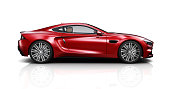 Red Generic coupe car isolated on white background - 3D illustration