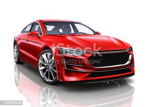 Red Generic sedan car  isolated on white background - 3D illustration