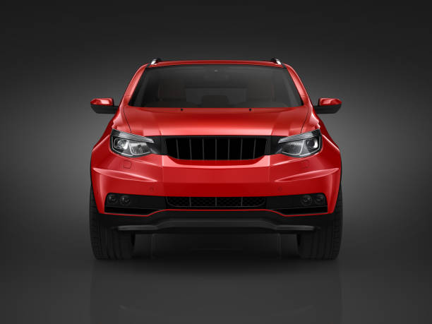 Red Generic Suv on black background stock photo