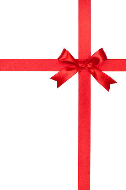 Red gift bow and ribbon on white background stock photo