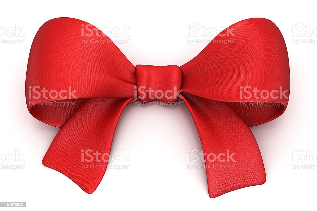Red gift bow isolated on white with clipping path stock photo