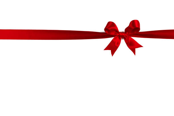 Red gift bow on white stock photo