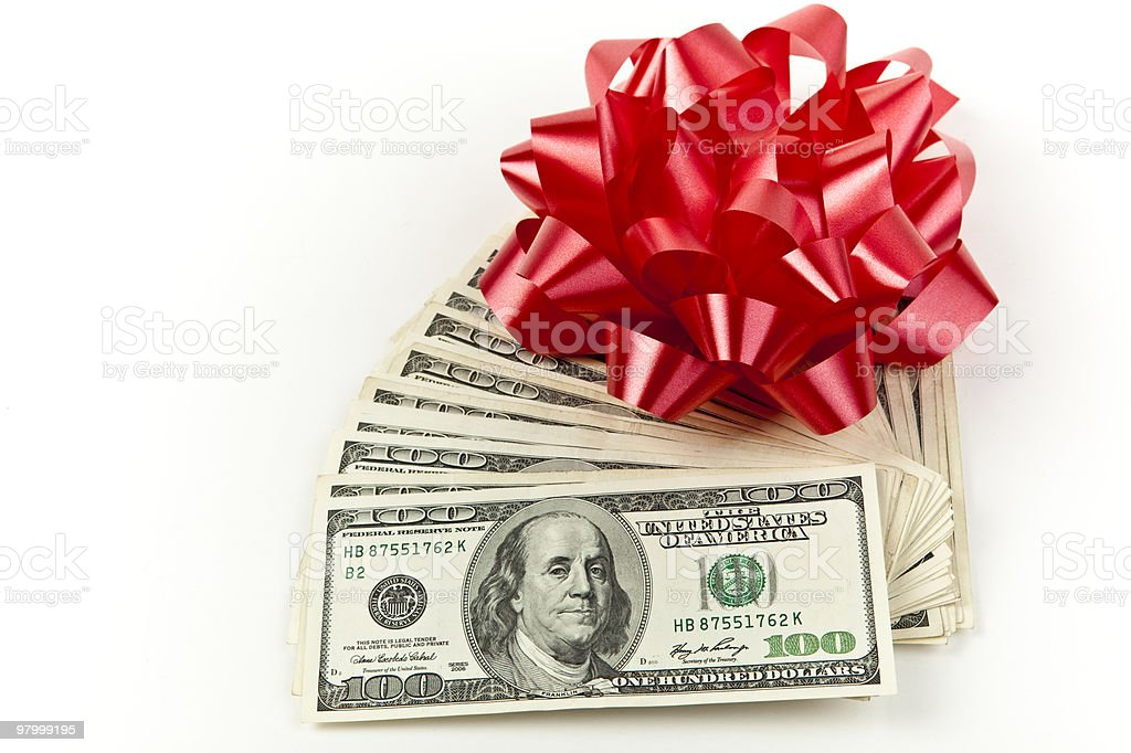 red gift bow with money royalty-free stock photo