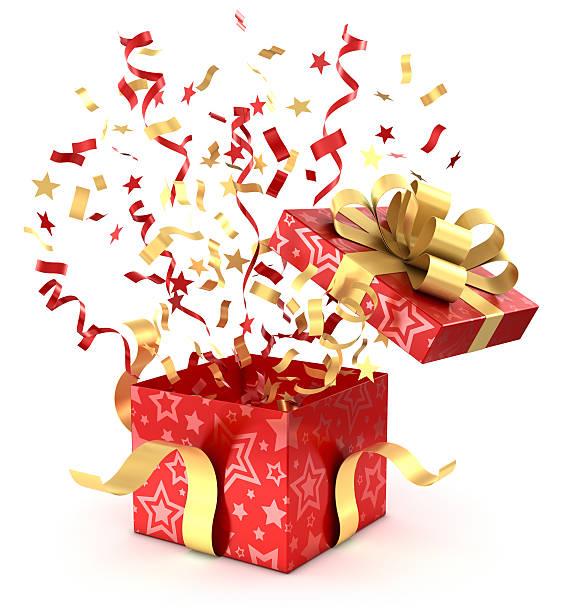 Rote Geschenkbox und Konfetti Mit clipping path – Foto