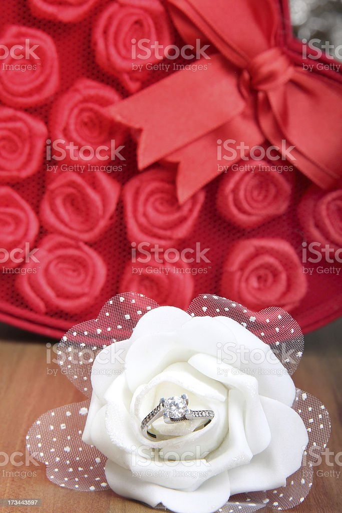 Red Gift Box And White Rose royalty-free stock photo