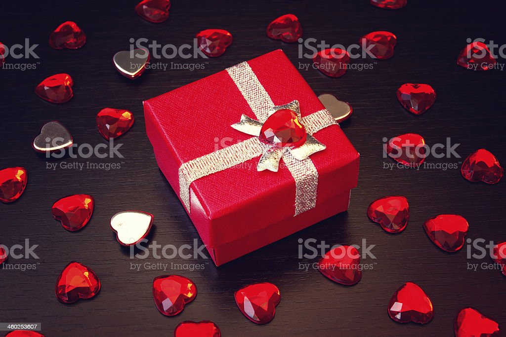 red gift box for valentine's day royalty-free stock photo