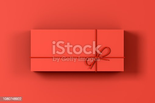 Minimal concept,  3d rendering red gift boxes on red background.