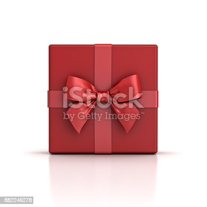 istock Red gift box or red present box with red ribbon bow isolated on white background with shadow and reflection 882246278