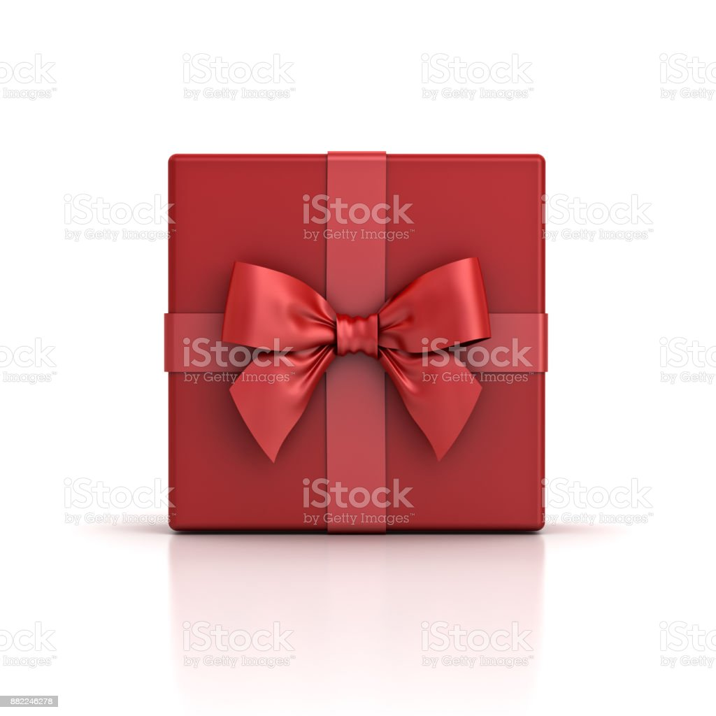 Red gift box or red present box with red ribbon bow isolated on white background with shadow and reflection stock photo