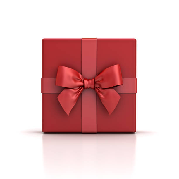 red gift box or red present box with red ribbon bow isolated on white background with shadow and reflection - gift стоковые фото и изображения