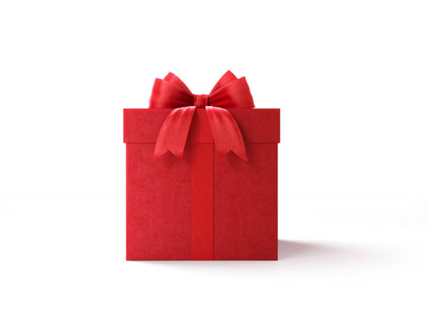 red gift box tied with red ribbon - gift box imagens e fotografias de stock