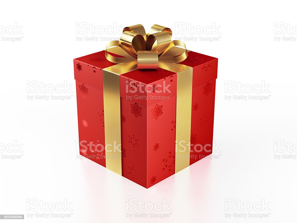 Red Gift Box Tied with Shiny Gold Ribbon Realistic 3D render of a red gift box tied with a golden shiny ribbon. Gift box is wrapped with snowflakes patterened red gift paper. Gift box is isolated on white background. Clipping path for gift box and ribbon is included. Horizontal composition with copy space, Great use for christmas related gift concepts. Birthday Stock Photo