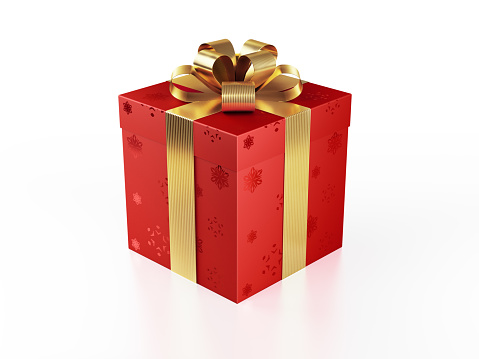 Red Gift Box Tied With Shiny Gold Ribbon Stock Photo - Download Image Now