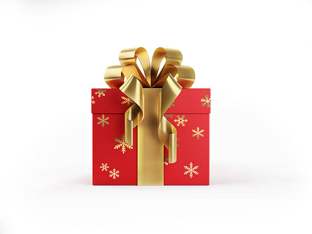 Red Gift Box Tied with Shiny Gold Ribbon - foto stock