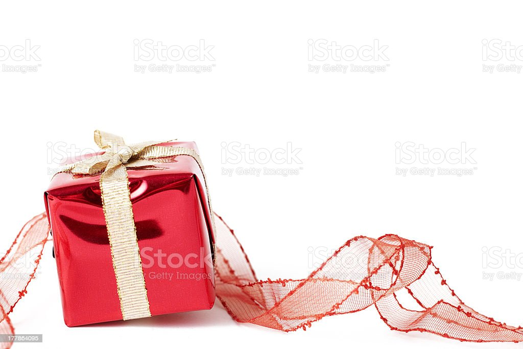 Red gift box with a bow royalty-free stock photo
