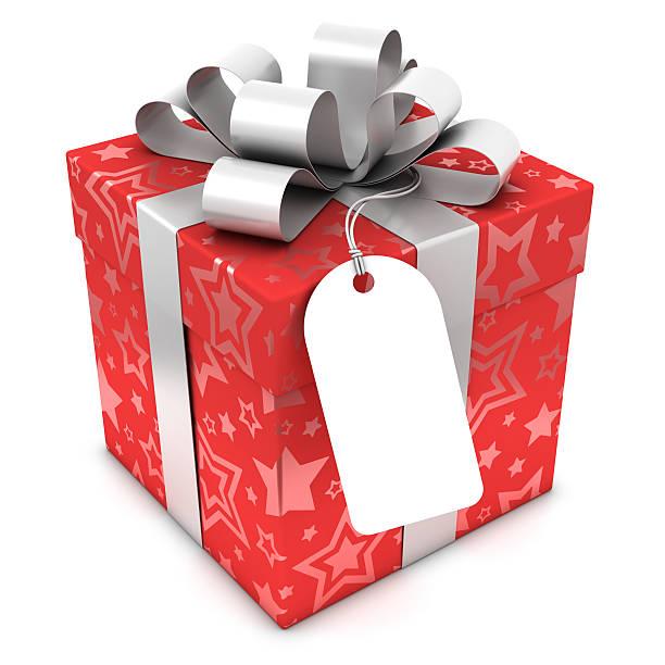 Rote Geschenkbox mit leeren label und Schnittpfade – Foto
