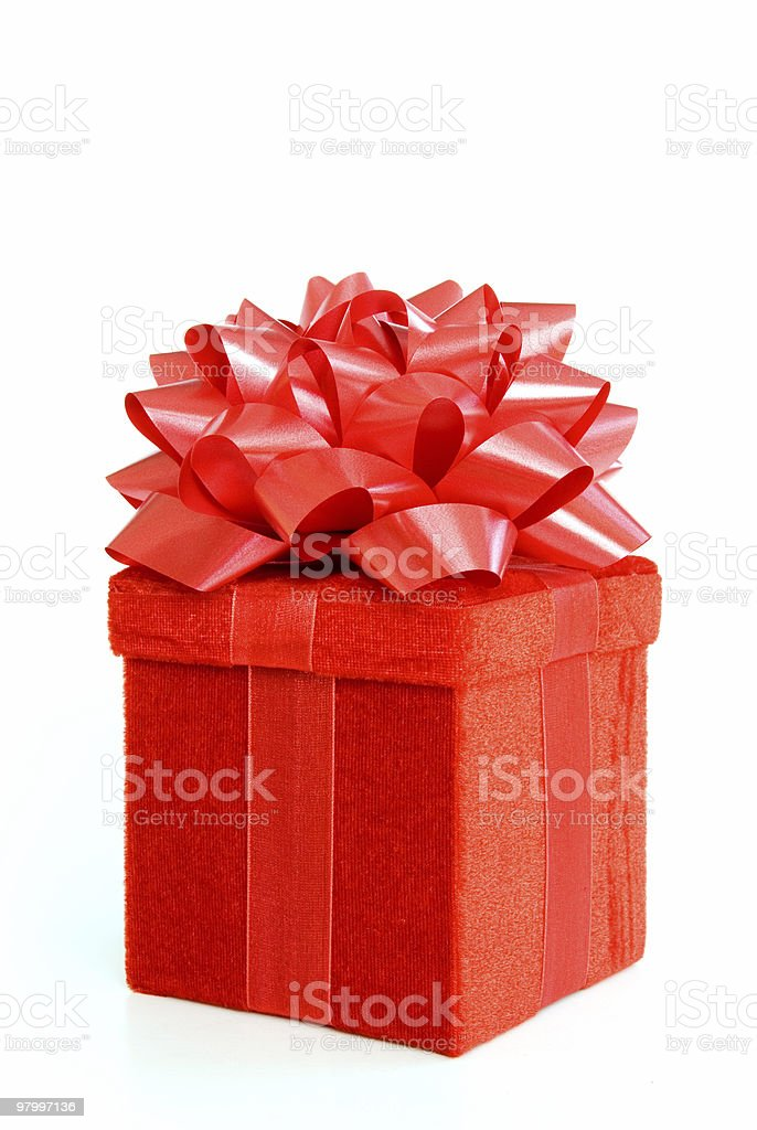 Red gift box with bow on white royalty-free stock photo