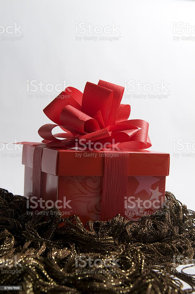 Red Gift Box with Decoration royalty-free stock photo