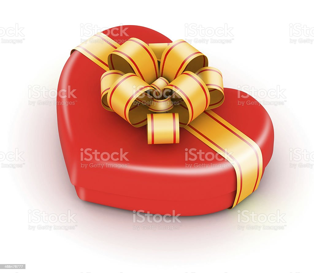 Red gift box with gold stock photo