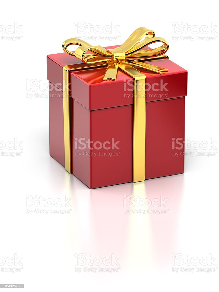 Red Gift Box with Gold Ribbon stock photo