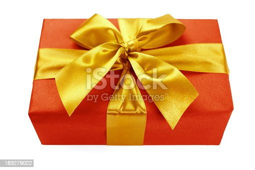 507751629 istock photo Red gift box with golden ribbon 183279022