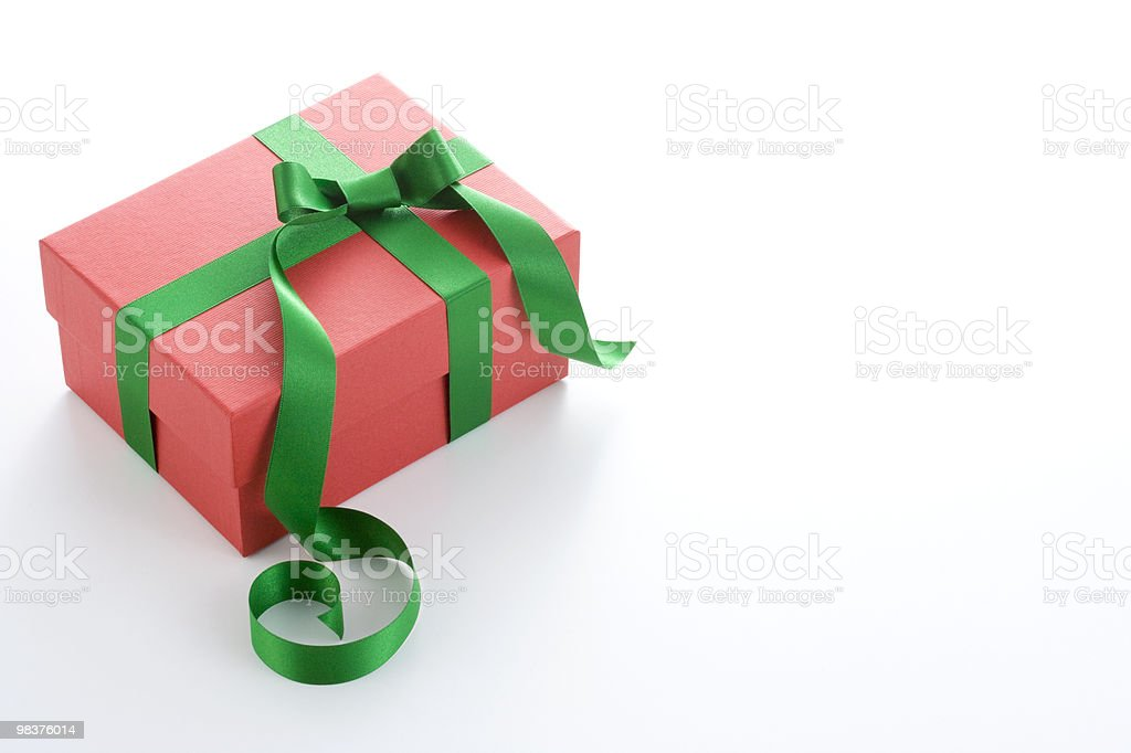 Red Gift Box with Green Satin Ribbon Bow royalty-free stock photo