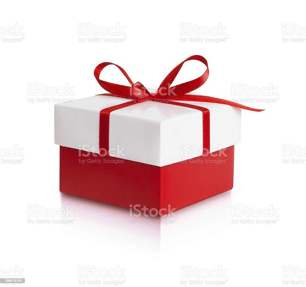 Red gift box with ribbon bow royalty-free stock photo
