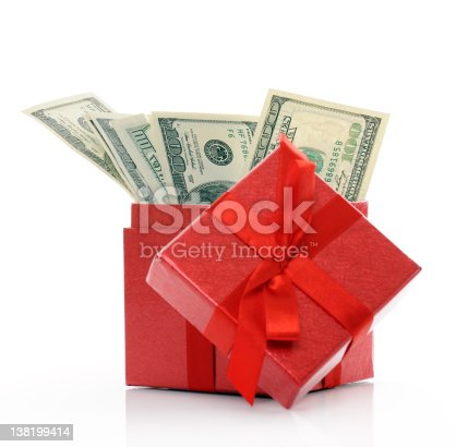 red box with dollars