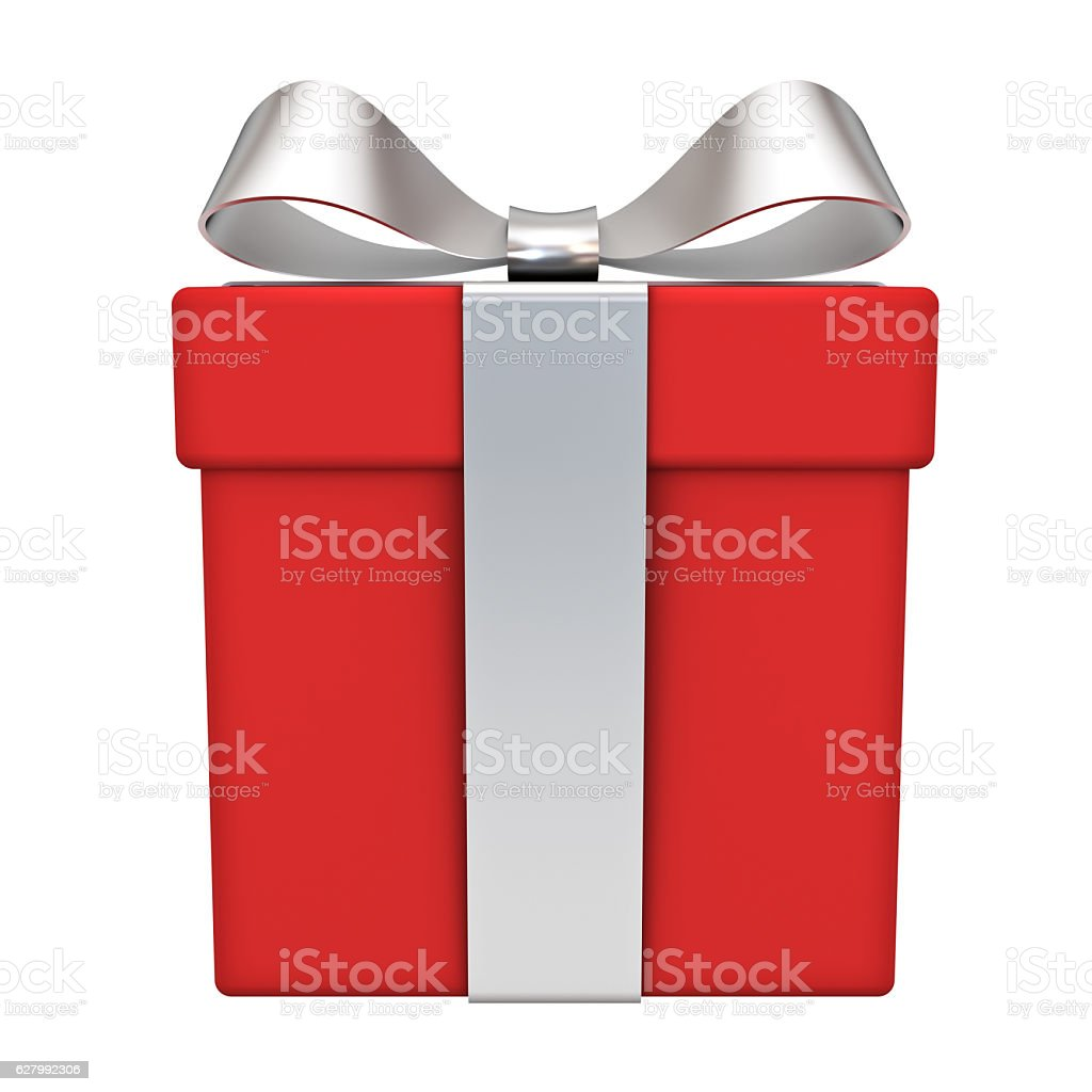 Red gift box with silver ribbon bow stock photo