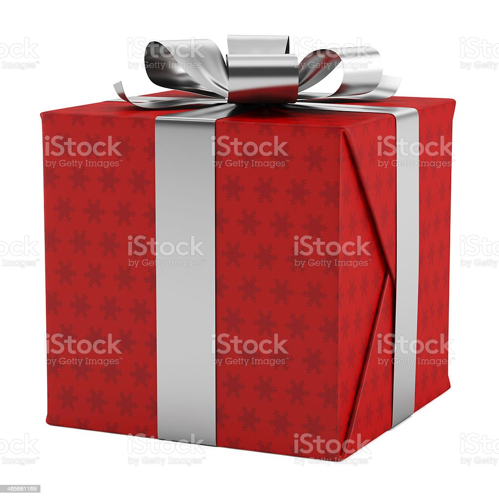 red gift box with silver ribbon isolated on white background stock photo