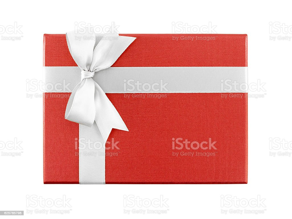 red gift box with white ribbon bow isolated on white background stock photo