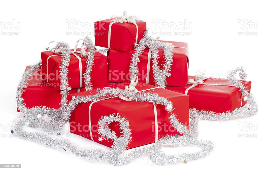 Red gift boxes for christmas royalty-free stock photo