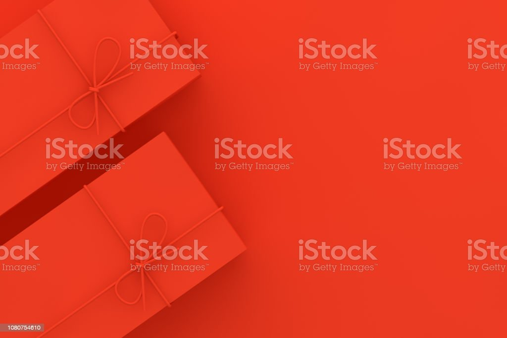 Red Gift Boxes on Red Background stock photo