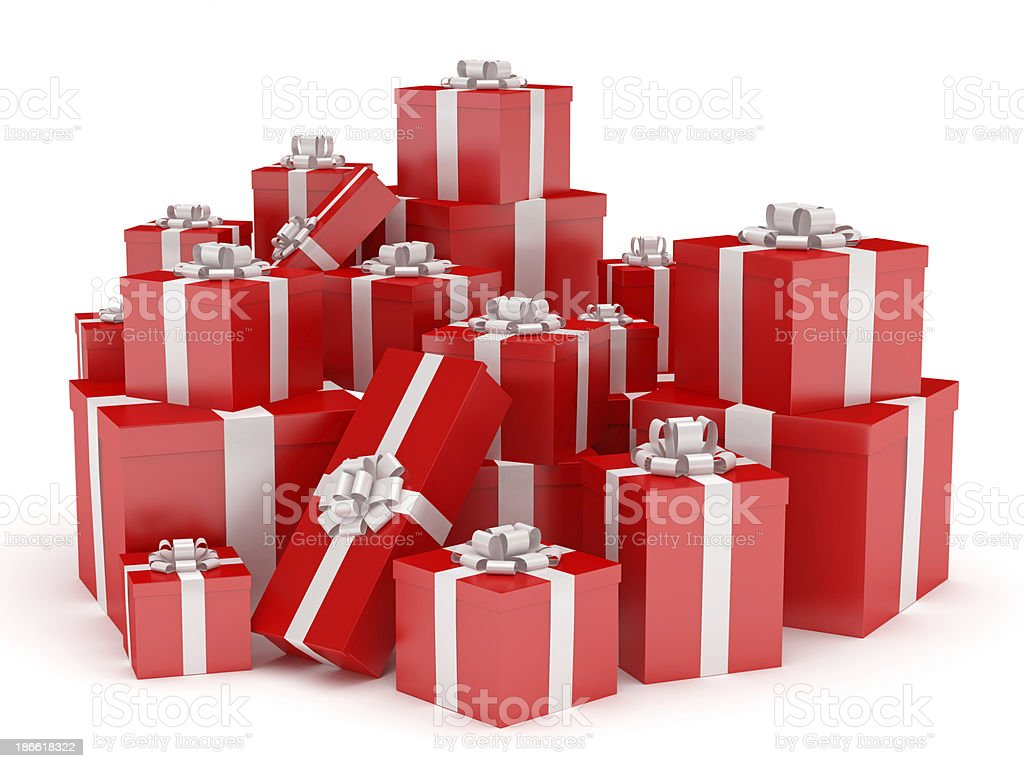 Red gift boxes with white ribbon bow, isolated on white royalty-free stock photo