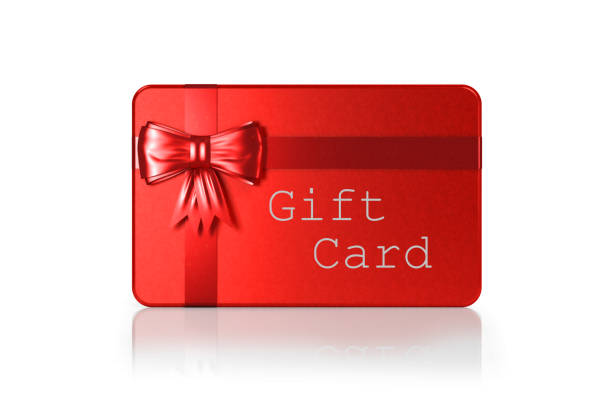 赤のギフトカードと赤い縛られた弓は、クリッピングパスと白で分離 - アイコン プレゼント ストックフォトと画像