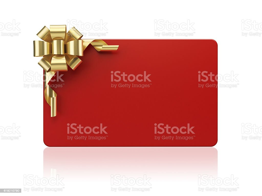 Red Gift Card with Golden Bow Tie on White Background stock photo