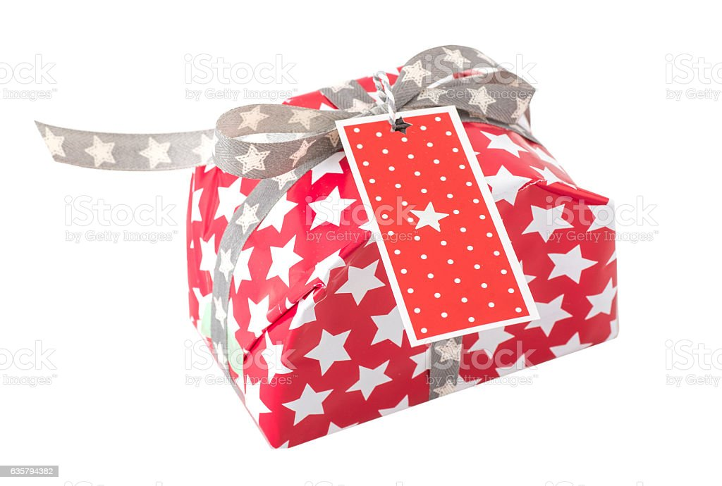 red gift on white background stock photo