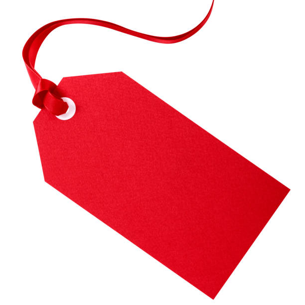 Red gift or price tag stock photo