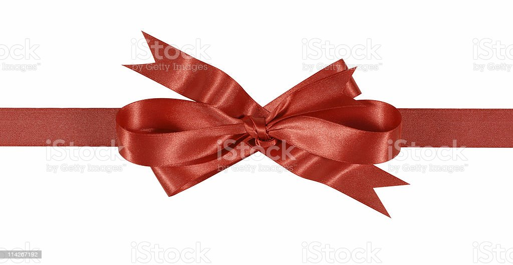 Red gift ribbon and bow royalty-free stock photo