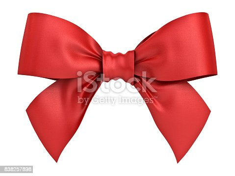 istock Red gift ribbon bow isolated on white background . 3D rendering 838257898
