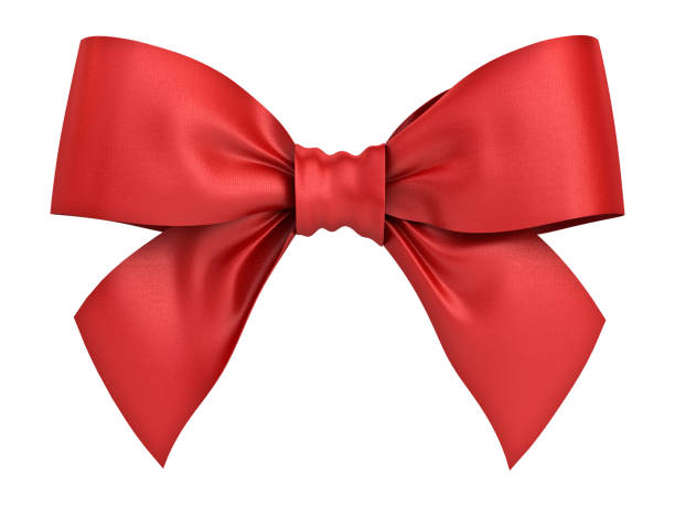 Red gift ribbon bow isolated on white background . 3D rendering stock photo