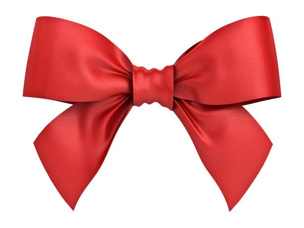 roten geschenkband beugen isolierten auf weißen hintergrund. 3d-rendering - geschenkschleife stock-fotos und bilder