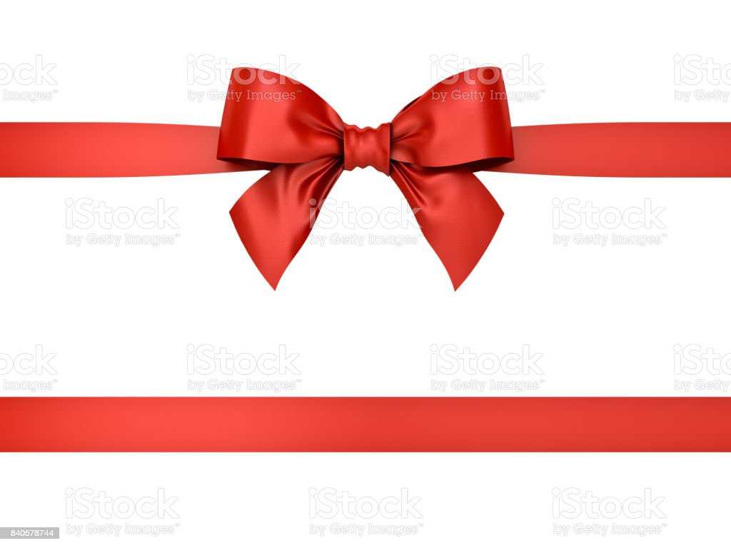 Red gift ribbon bow isolated on white background . 3D rendering Red gift ribbon bow isolated on white background . 3D rendering. Abstract Stock Photo