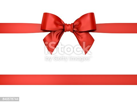 istock Red gift ribbon bow isolated on white background . 3D rendering 840578744