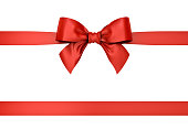 Red gift ribbon bow isolated on white background . 3D rendering