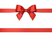 赤いギフト リボン弓の分離の白い背景。3 D レンダリング